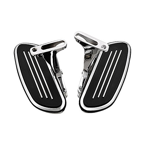 Passenger Floor Boards with Mount Bracket Kit Replacement for 1993-2018 Harley Touring (Streamliner Style, Chrome) ()