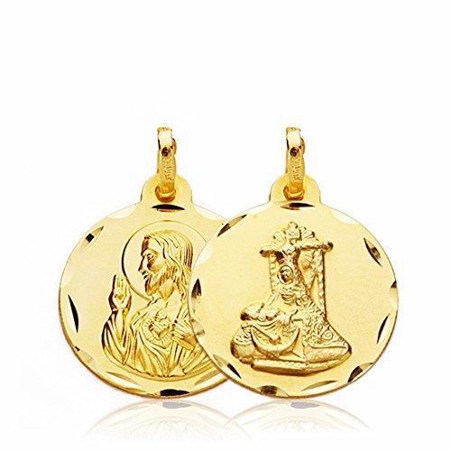 Médaille pendentif or 18k Scapulaire C. Jésus Douleurs Vierge 18mm. [AA2655]