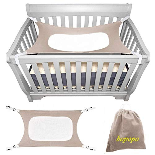 bopopo Baby Hammock for Crib ? Mimics Mother?s Womb - Infant Hammock 3-Layer Breathable Supportive Mesh Metal Buckle Grey