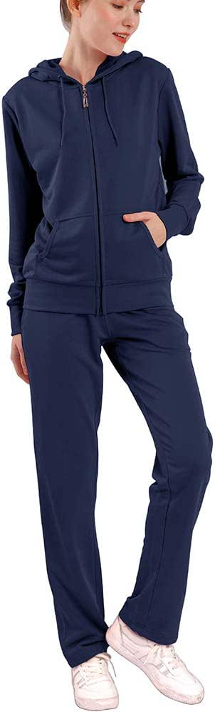 Petite Active Tracksuits for Women Joggers Plus Athletic Clothing Sets Plus Size Velour Outfits Zip Up Hoodie & Sweatpants with Pockets(Navy,L)