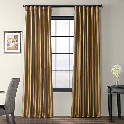 Half Price Drapes PTCH-JTSP206-84 Faux Silk Taffeta Curtain, Gold Nugget