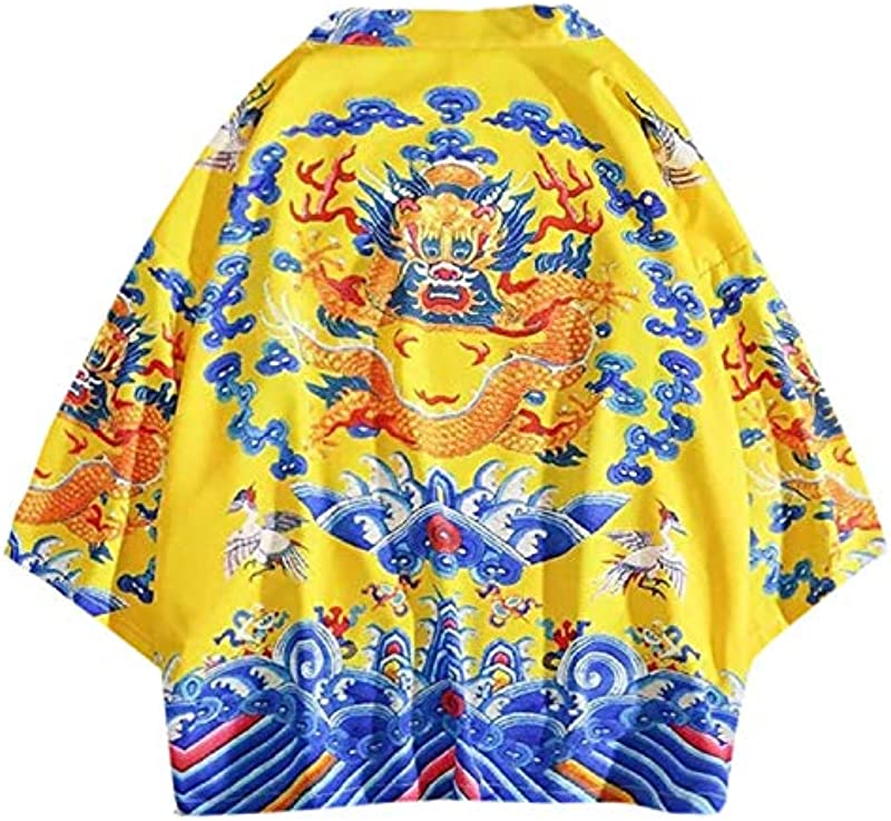 Men Jacket Harajuku Kimono Cardigan Coat Casual Spring Clothing Lovers Tops Individuality Print Blouse for Male Outwear,A,XXL: Odzież