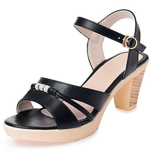 KPHY-En Verano Las Sandalias 7Cm Tacones Altos Bohemia Aspero De Mediana Edad Mamá De Zapatos. black
