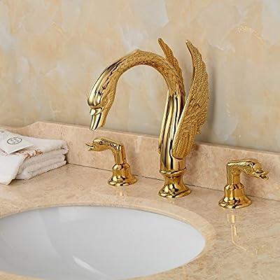 LightInTheBox Golden Handles Deck Mounted Ornate Swan Sink Mixer