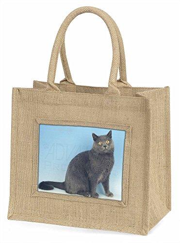 Advanta blau chartreax Cat Große Einkaufstasche/Weihnachten Geschenk, Jute, beige/natur, 42x 34,5x 2cm
