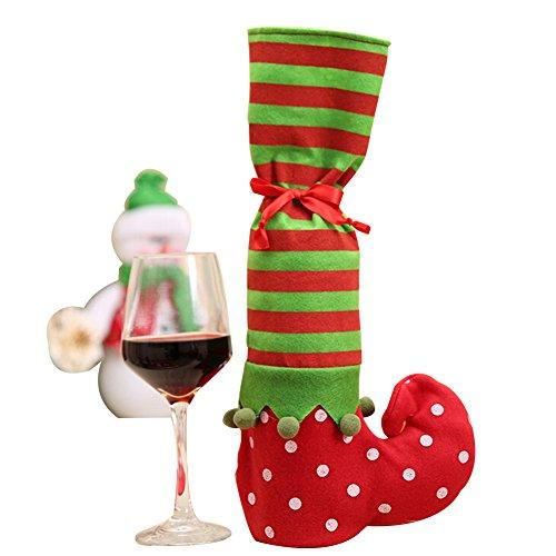 Christmas Wine Bottle Decoration Bag Cover Elves Shoots Shape Furniture Socks Anti Slip Chair Table Leg Floor Protectors for Xmas Party Restaurant Shop Family Dinner (Elves Cover)