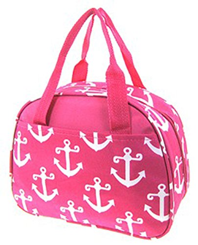 Anchor Print Nautical Thermal Lined Canvas Lunch Box Tote Bag (Hot -