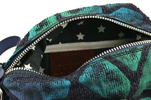 Pochette borsa beauty donna in tessuto fantasia inserti vera pelle ICONE 12x19x9 cm MADE IN ITALY
