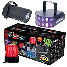 American DJ LED PARTY PAK 2 | Mini Gressor Tri LED TRI Gem LED B6R LED Beacon Combo Package