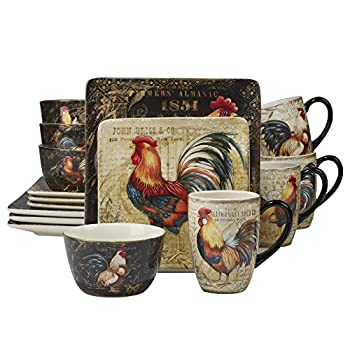 Image of Certified International 89014 Gilded Rooster Dinnerware.Tabletop, One Size, Multicolor Home and Kitchen