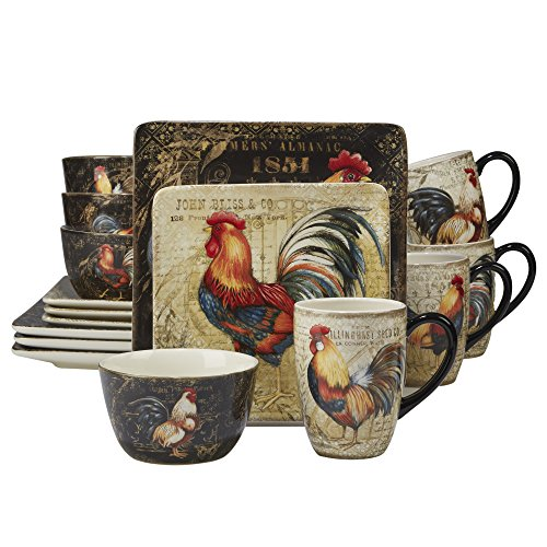 Certified International 89014 Gilded Rooster Dinnerware.Tabletop, One Size, Multicolored