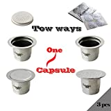 CAPSULONE 3pcs Stainless Steel Reusable Capsule coffee filter fit for Nespresso coffee machine