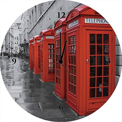 Artland Qualitätsuhren I Funk Wanduhr Designer Uhr Glas Funkuhr Größe: 35 Ø Großbritannien London Rot F1QG