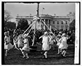 Vintography 8 x 10 Reprinted Old Photo May Pole Dance, Easter Egg Rolling, 4/1/29 1929 National Photo Co 96a
