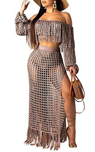 Crochet Knit Tassel Bikini Cover Up Skirt Set - 2 Pieces Outfits Seee Through Off Shoulder Crop top and Skirt Brown