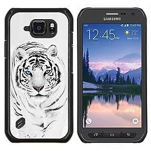 Caucho caso de Shell duro de la cubierta de accesorios de protección BY RAYDREAMMM - Samsung Galaxy S6Active Active G890A - Tiger Snow Leopard Invierno Negro Blanco animal de piel
