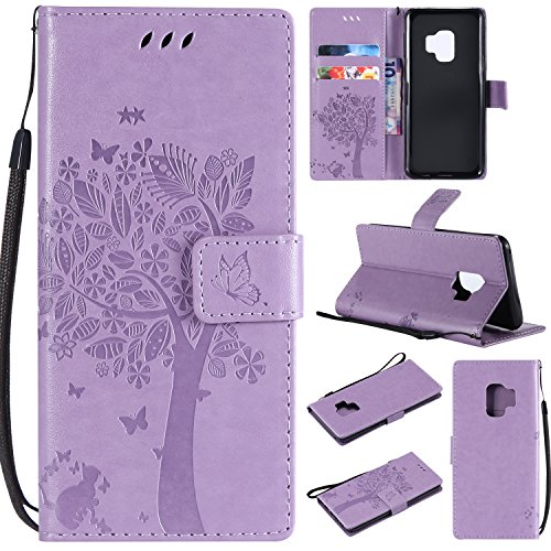 Flower Power Leather - HAOTP Galaxy S9 Wallet Case, Floral Flower Love Tree & Cat Embossed PU Leather Magnetic Flip Shockproof TPU Inner Bumper Card Holders & Hand Strap Wallet Purse Case for Samsung Galaxy S9 Light Purple