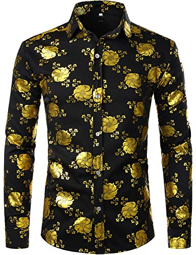 ZEROYAA Mens Hipster 3D Golden Floral Printed Slim Fit Long Sleeve Button Down Dress Shirts ZZCL31 Black X Large