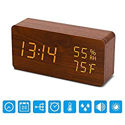 AHOMATE Digital Alarm Clock, Wood LED Adjustable Brightness Voice Control Desk Wooden Alarm Clock with Day/Date/Temperature and Humidity USB/Battery Powered for Home, Office, Kids