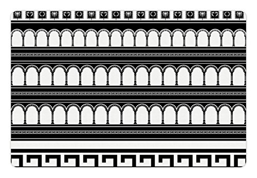 Ambesonne Toga Party Pet Mat for Food and Water, Stencil Artwork of Fantasy Colosseum Arch Historical Roman Architecture Theme, Rectangle Non-Slip Rubber Mat for Dogs and Cats, Black White