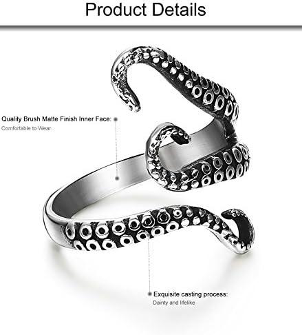 FIBO STEEL Stainless Steel Octopus Shape Rings for Men Women Vintage Rings,Size 7-13