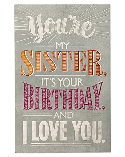 American Greetings Deal with It Birthday Greeting Card for Sister with Glitter and Foil (Best Birthday Greeting Cards For Sister)