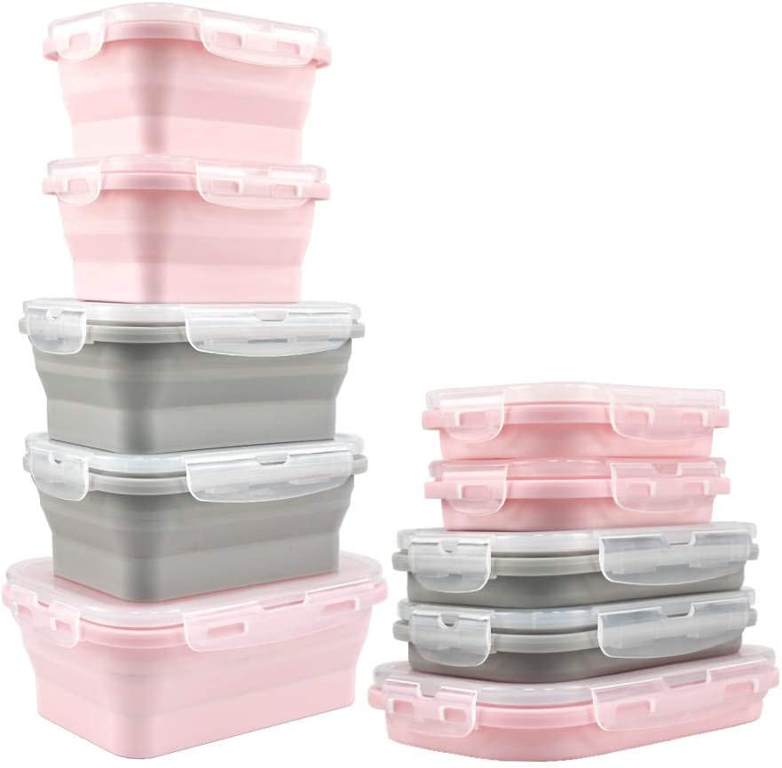 """Collapsibles- 5th Unit """"FREE"""" When You Purchase 4 of Our Bubble Gum Pink/Licorice Environmentally Friendly Collapsible Silicone Food Storage Containers. (1)800(2)500(2)350ml"""