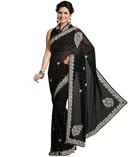 Indian Ethnic Chiffon Black Fancy Saree
