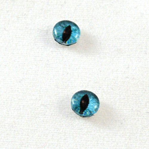 6mm Pair of Teal Cat or Dragon Glass Eyes Crafting Supply Flatback Cabochons for Doll or Jewelry Making Set of 2