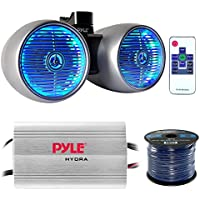 Marine Speaker And Amp Combo: Pyle PLMRMP3A 4 Channel 1200 Watt Waterproof MP3 Power Amplifier Bundle With 8 600W Dual Wakeboard Waterproof LED Light Tower Speakers + Enrock 50Ft 16g Speaker Wire