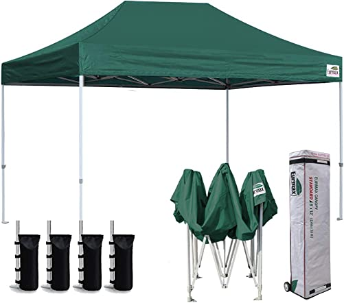 Eurmax 8 x 12 Ez Pop Up Canopy Party Tent Sport Outdoor Instant Canopies Bonus Deluxe Wheeled Storage Bag Forest Green