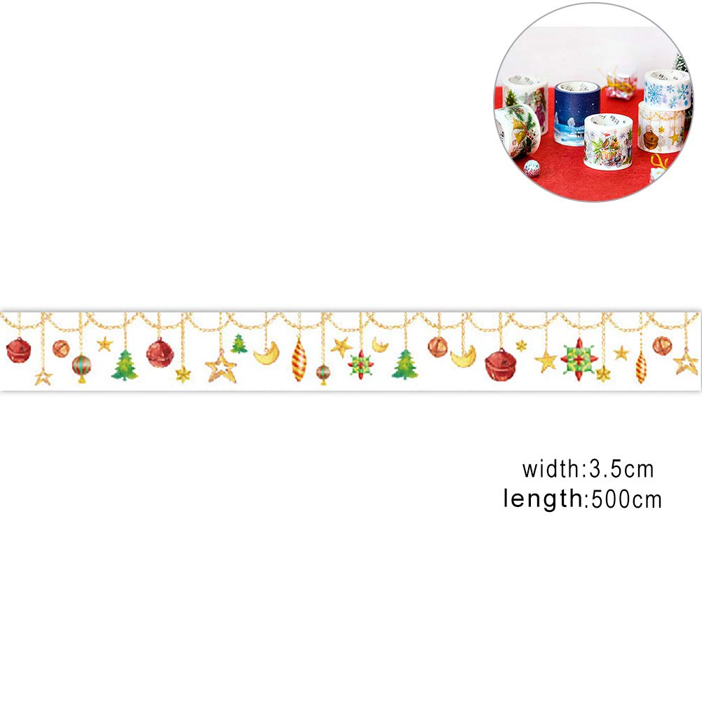 Hilai Christmas Masking Tape Decorative Adhesive Tape Sticky Paper Tape for DIY Decorative Craft and Gift Wrapping(Bell and Star)
