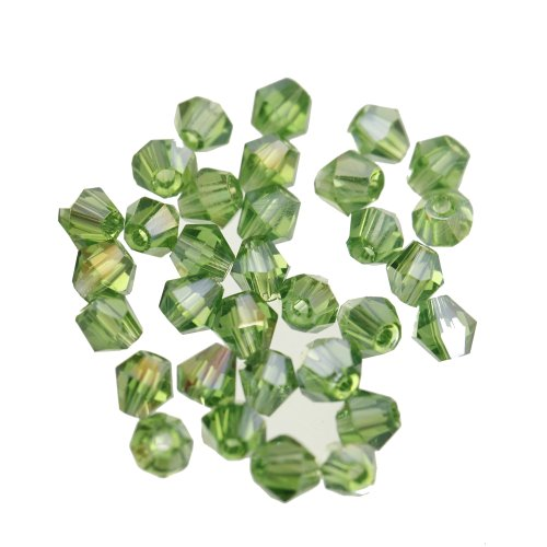 ILOVEDIY 100pcs Green Bicone Faceted Crystal Glass Beads 4mm for Jewelry Making