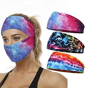 ACTLATI Men Women Headband Sweatbands for Sport Running Cycling Yoga Workout Sweat Band Lightweight Breathable Face Mask Bandana