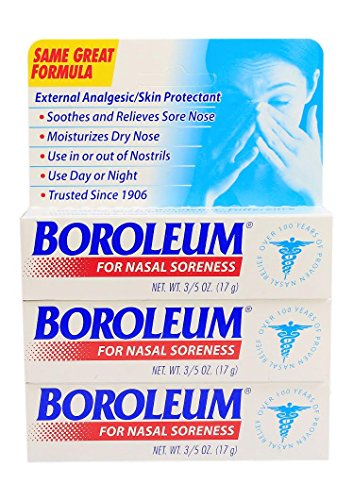 Boroleum Ointment for Nasal Soreness - 0.6 Ounce Tube - Pack of 3