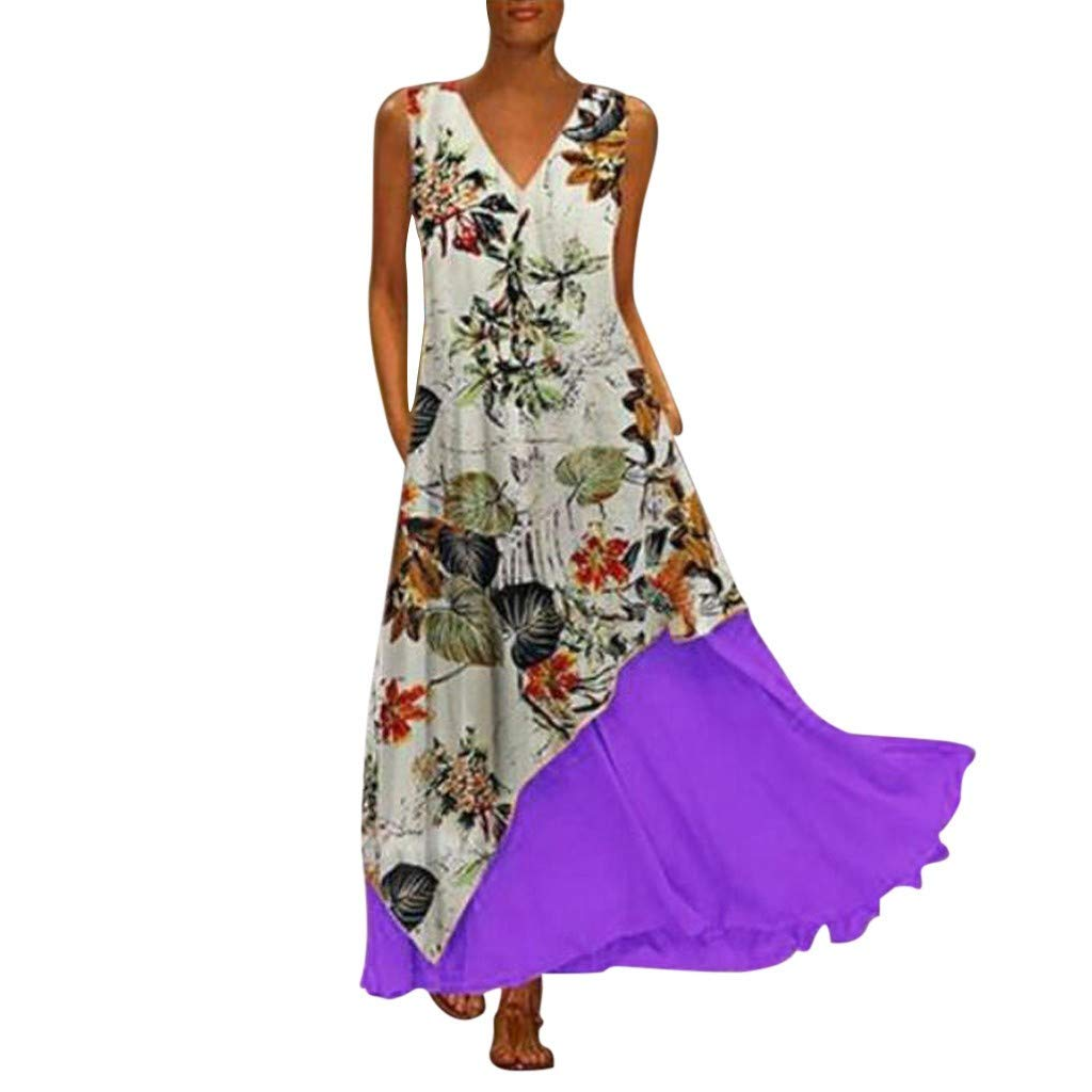 SADUORHAPPY Women Bohe Long Dress Plus Size Sleeveless V-Neck Strappy Loose Print Dress by SADUORHAPPY Dress
