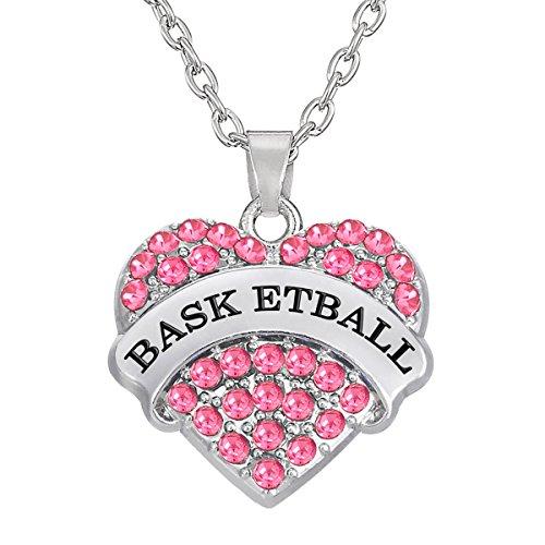 Kebaner Basketball Pink Silvertone Heart Pendant Necklace Sports Fan Medal Jewelry for Teen Women Men