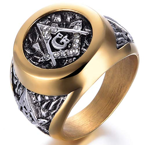 Jude Jewelers Stainless Steel Silver Gold Two Tone Masonic Freemason Signet Ring (Silver Gold, 7) (Masonic Signet Ring)