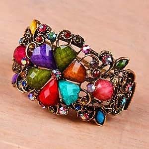La flor de la aleación de imitación de moda Retro HJZ brazaletes de Color al azar