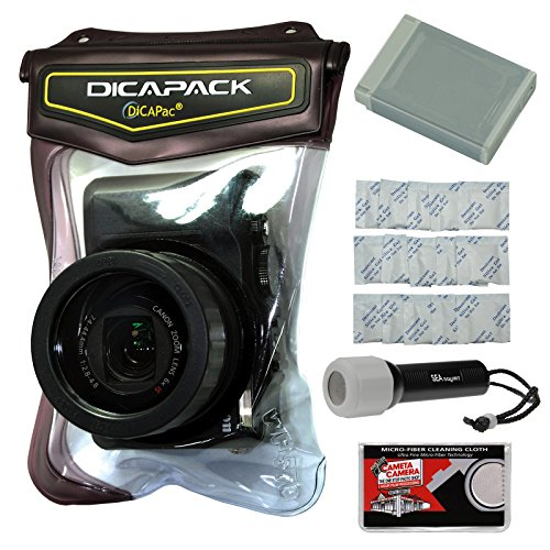 DiCAPac WP-570 Waterproof Case with NB-13L Battery + LED Tor