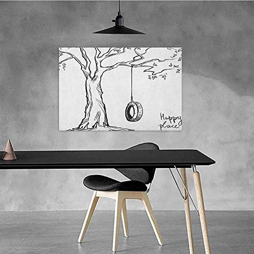 Xlcsomf Retro Oil Painting Tree Hanging in The Bedroom Tree with a Tire Swing Illustration Happy Place Summer Childhood Holidays Garden W28 x L20 Black White