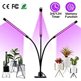 Amconsure Grow Light, 30W LED Grow Lamp Bulbs Plant Lights Full Spectrum, Auto ON & Off with 3/6/12H Timer 5 Dimmable Levels Clip-On Desk Grow Lamp, Triple Head Adjustable Gooseneck for Indoor Plants