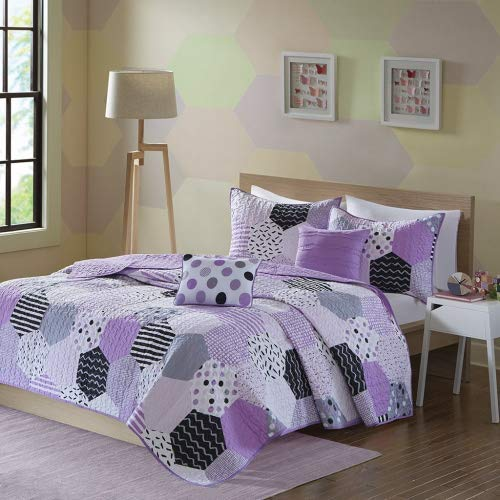 Urban Habitat Kids Trixie Full/Queen Bedding for Girls Quilt Set - Purple, Geometric - 5 Piece Kids Girls Quilts - Cotton Quilt Sets Coverlet