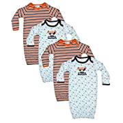 Quiltex Baby Girls and Boys Cotton Gown (4 Pack) MVP, 3-6 Months'