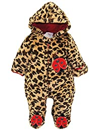 Duck Goose Baby Girls Cute Ladybug Plush Footed Ear Snow Pram Suit, Red, 3-6 Months
