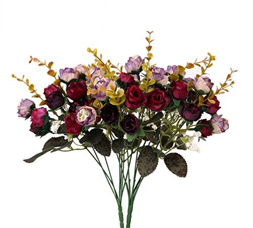 Houda Artificial Silk Fake Flowers Rose Floral Decor Bouquet,Pack of 2 (Purple Coffee)