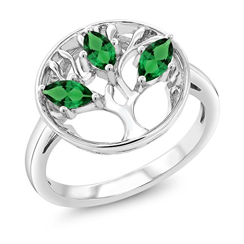 925 Sterling Silver Green Simulated Emerald 3-Stone Tree Of Life Women's Ring 0.60 Ct Marquise Cut (Size (Marquise Created Emerald Ring)