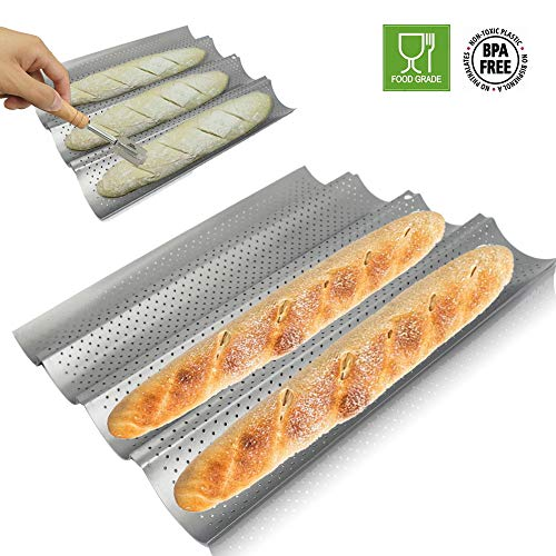 Walfos Baguette Pan Set-Food Grade Nonstick Coating Perforated Baguette Bread Pans for French Bread Baking 4 Loaves,with Premium Hand Crafted Bread Lame