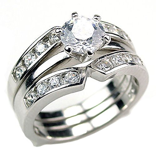 Sterling Silver 2.2ct Russian Ice on Fire CZ - Fire And Ice Wedding Ring Sets