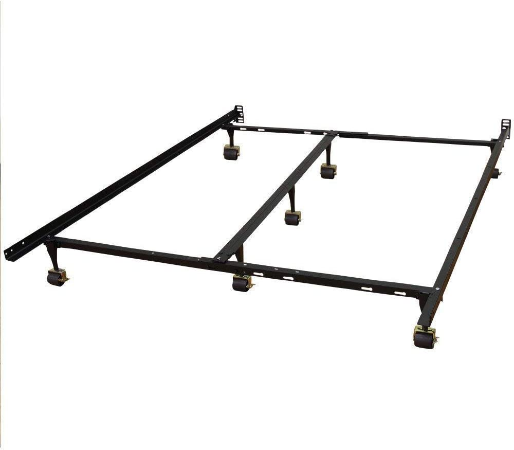 7in Queen Bed Frame Hercules Universal Heavy-Duty Metal Bed Frame Adjustable 7-Wheeled Legs with Locking Rug Rollers So Frame and Sleep System Can Be Moved Easily and Locked into Place Black